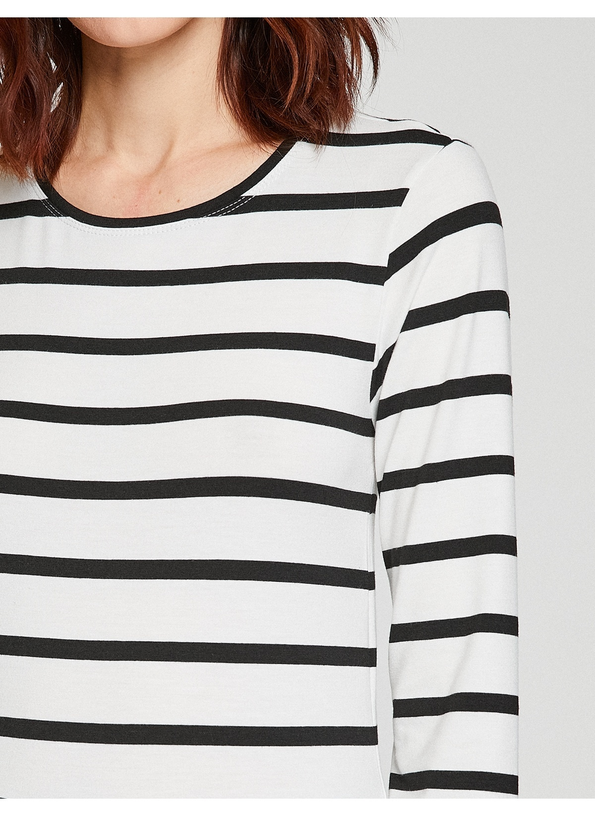 449175a9bd1cb Koton Kadın Uzun Kollu Çizgili Tişört Beyaz | Morhipo | 20661186